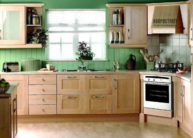 Светло салатовая кухня фото