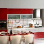 Сочетание красного в интерьере кухни