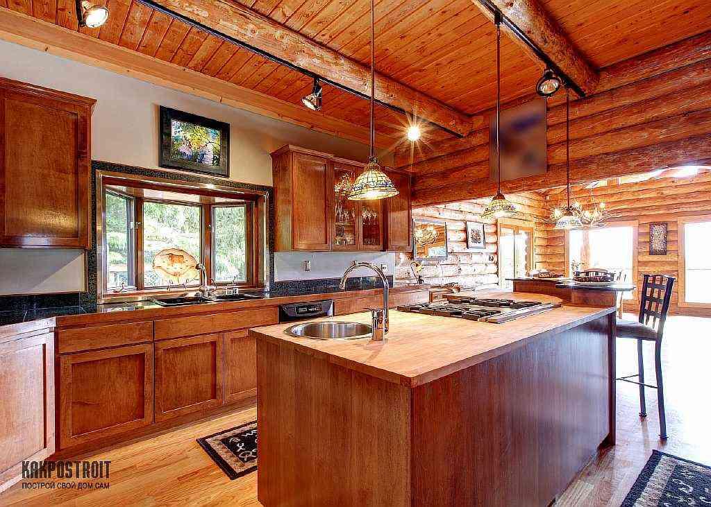 Дизайн кухни деревянного дома фото