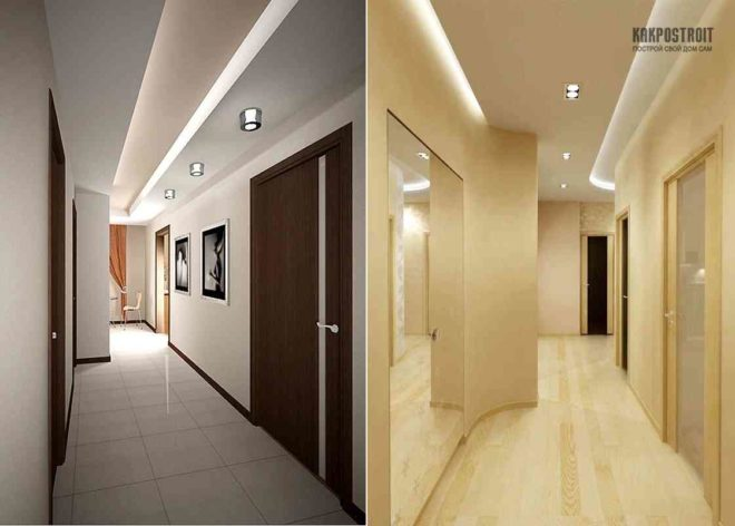 Дизайн интерьера потолков коридора фото