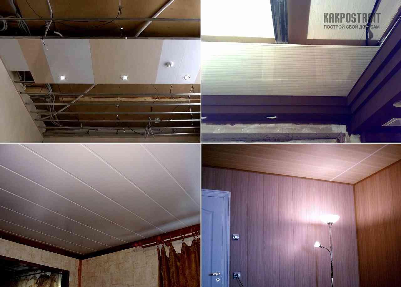 Фото как делать потолок из пластиковых панелей