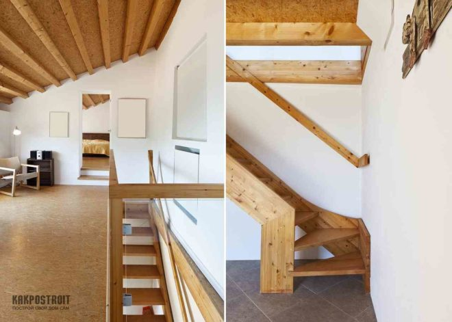 Фото деревянная лестница на мансарду