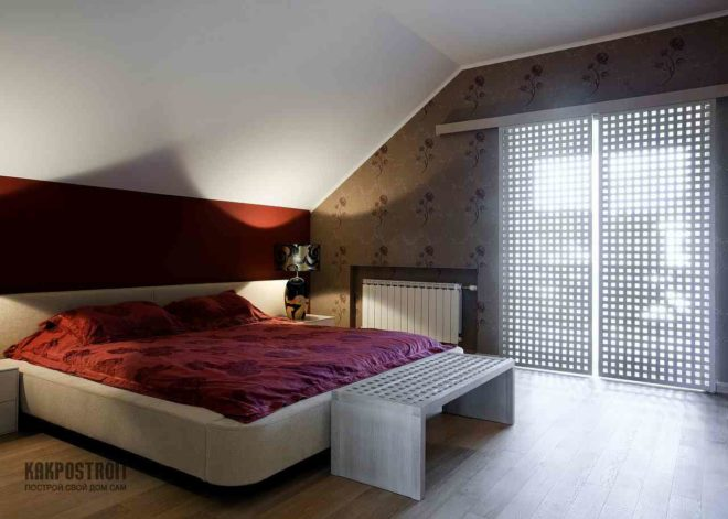 Дизайн интерьера спальня в мансарде