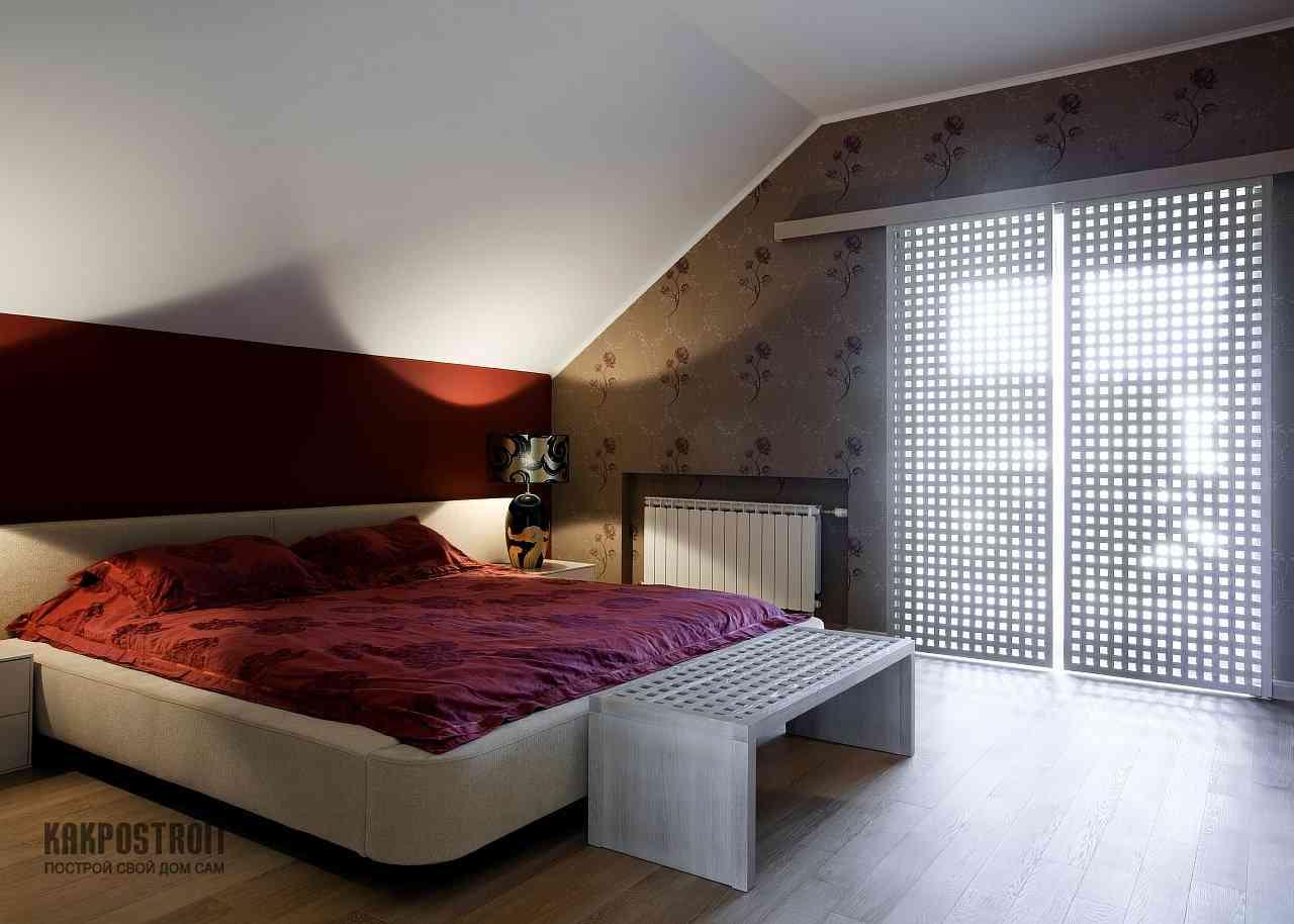 Современные интерьеры спальни на мансарде