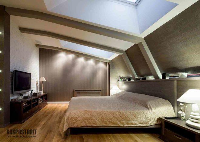 Мансарда дизайн интерьера фото спальни