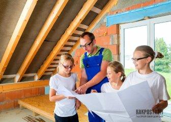 Двухскатная крыша с мансардой: фото этапов строительства