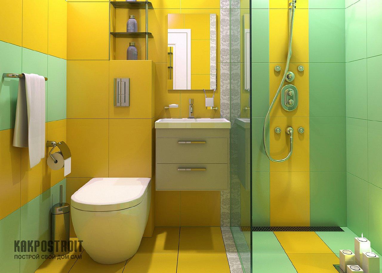 Яркие сочетания в ванной комнате