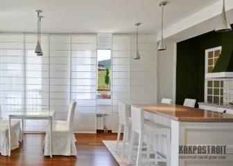 Современный дизайн штор для кухни