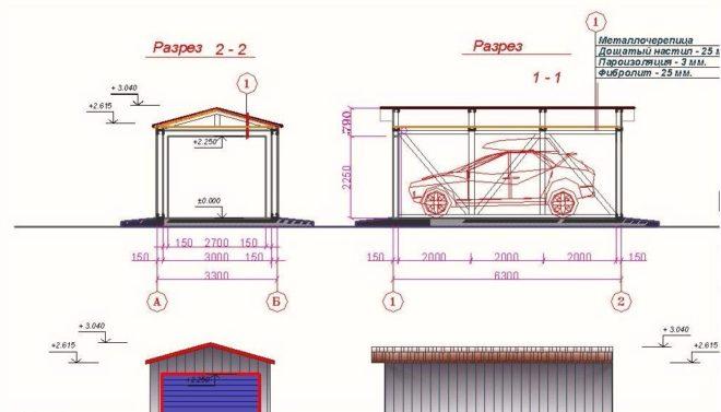 Схема гаража каркасного