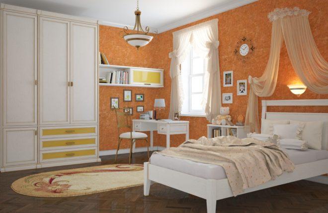 Оранжевый цвет мебели
