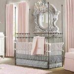Тёпло-серая детская для девочки с розовым текстилем