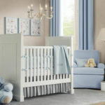 Бежевая детская с голубой и белой мебелью