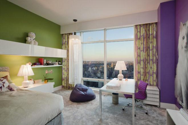 Фиолетовый и фисташковый спальня