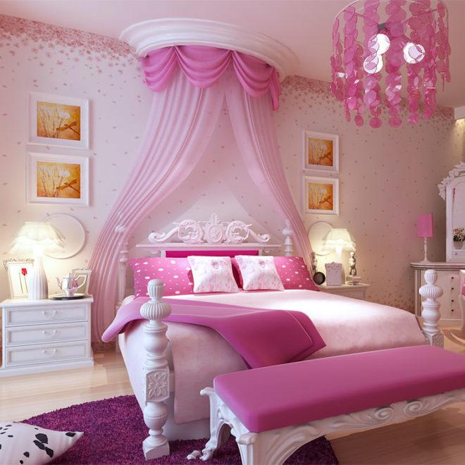 Фиолетовый и розовый спальня