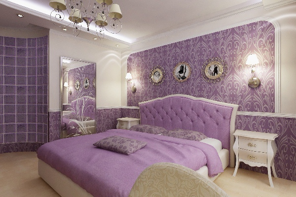 Фиолетовый и сиреневый в спальне