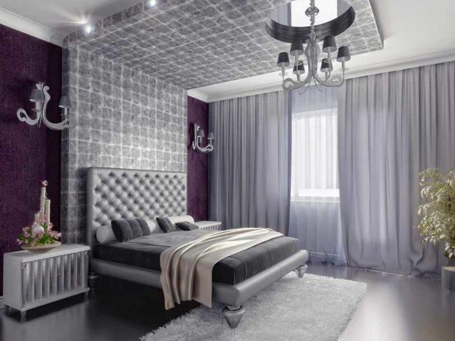 Лиловый и серый спальня