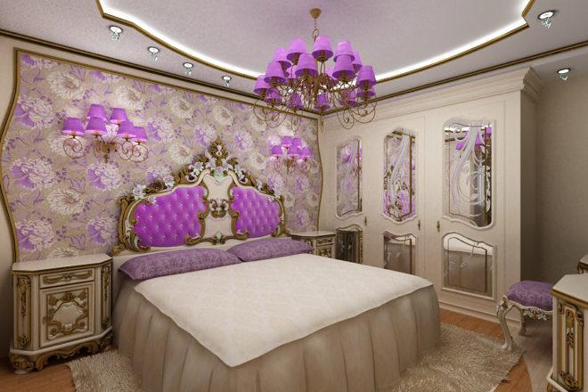 Спальня в фиолетово- бежевых тонах