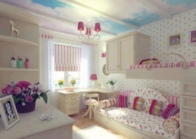Комната для двух девочек в бело-розовых тонах