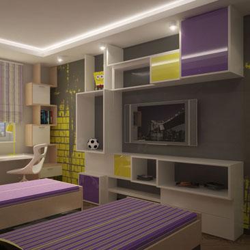 Комната для мальчишек в стиле яркий хай-тек