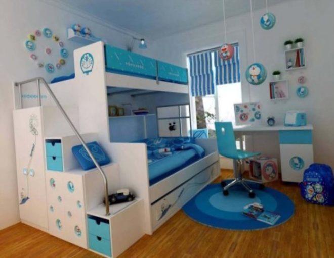 Бело-голубая мебель в детской