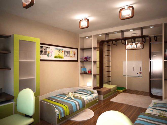 Комната с необычными светильниками