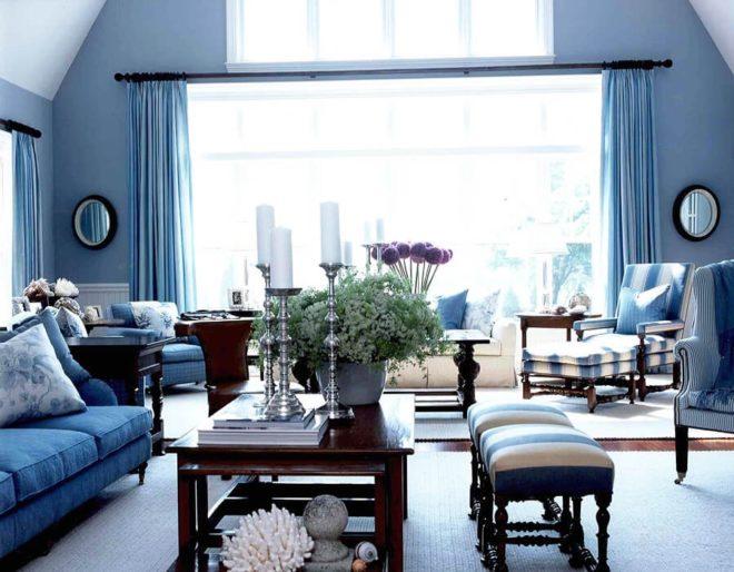 Морская современная гостиная для частного дома