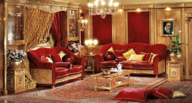 Мебель в помещении стиля ампир