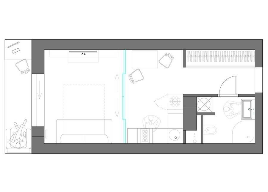 Дизайн интерьера, планировка и зонирование квартиры-студии.