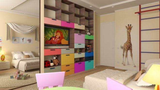 Зонированная спальня для родителе и детей