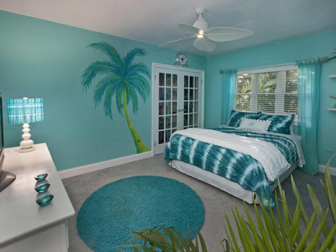 Бирюзовая спальня в морском стиле
