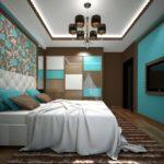 Бирюзово-коричневая спальня