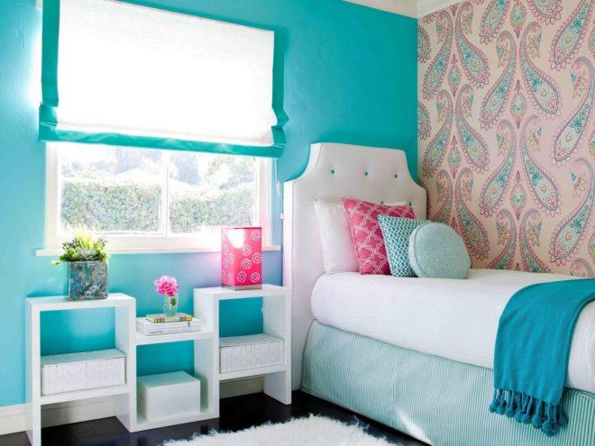 Оформление бирюзовой спальни
