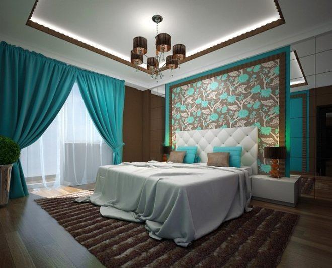 Спальня с использованием бирюзовых тонов