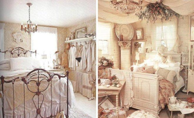 Очаровательный и винтажный стиль шебби-шик в спальне