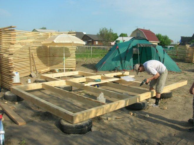 Строительство дома на фундаменте из шин