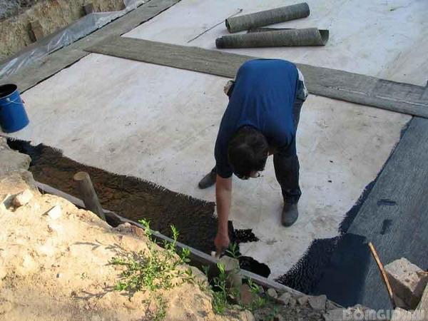 Процесс гидроизоляции гаражной крыши