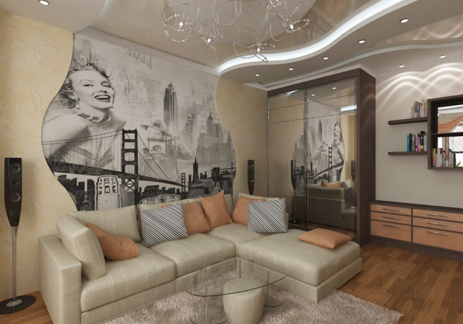 Гостиная с угловым диваном и фотообоями