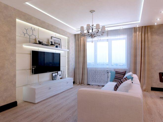 Гостиная с диваном, расположенным в центре комнаты
