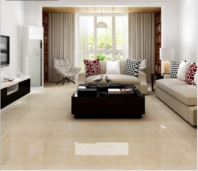 Плитка на полу гостиной, объединённой с лоджией