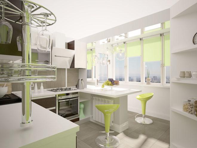 Барная стойка на стыке кухни и балкона