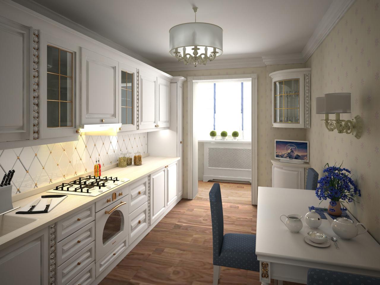 """Дизайн классической светлой кухни в узкой комнате."""" - карточ."""