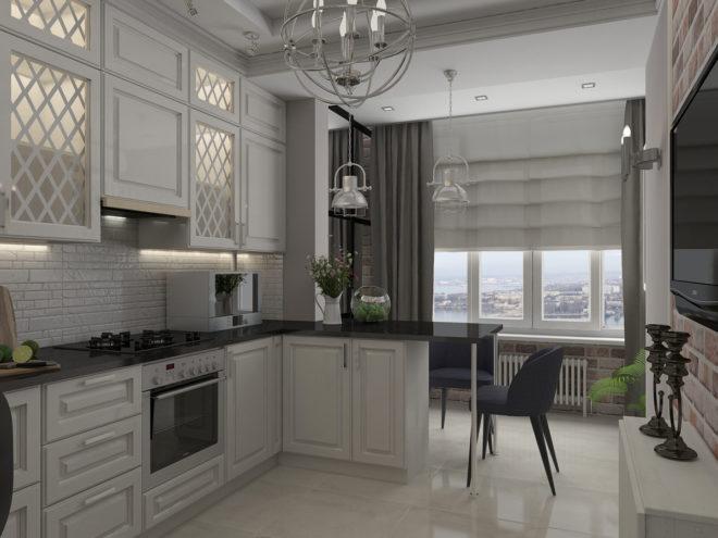 Кухня совмещённая с балконом