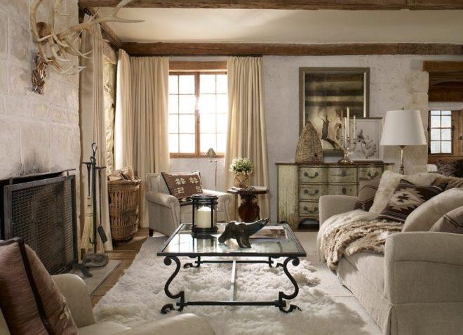 Мебель в гостиной стиля кантри
