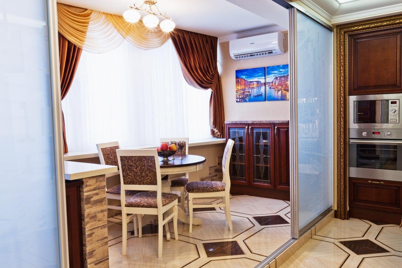 Оформление кухни, совмещённой с балконом (лоджией).