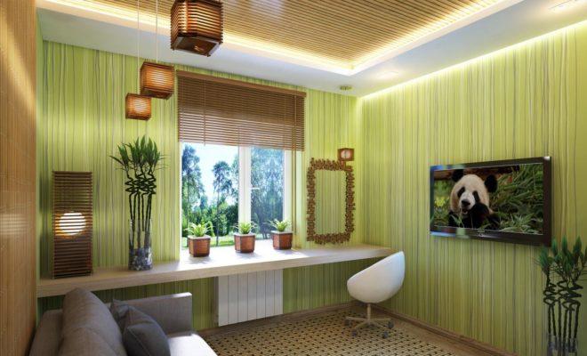 Оформление стен в эко-гостиной