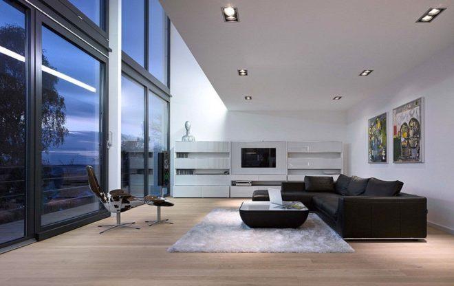 Освещение гостиной минимализма