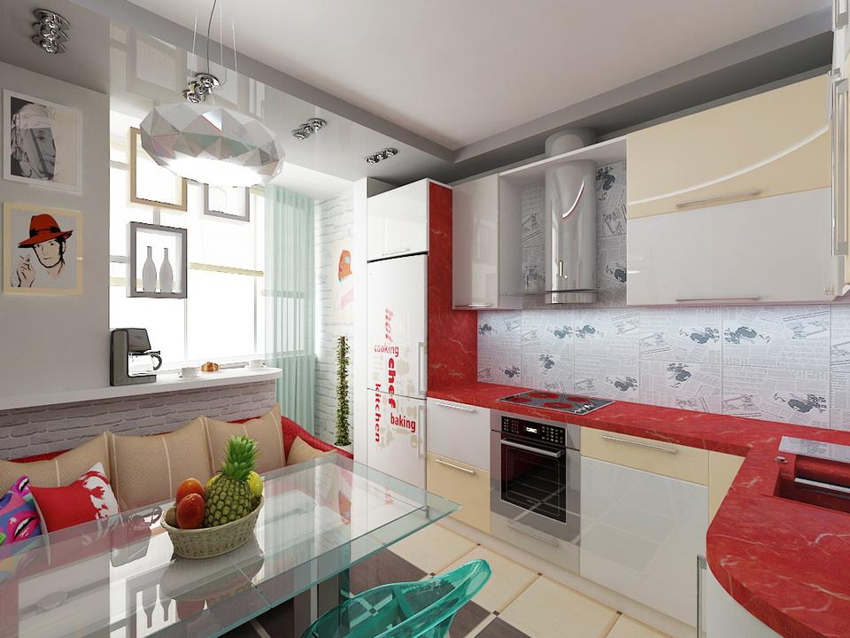 Оформление кухни, совмещённой с балконом (лоджией)