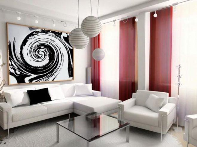 Светлое оформление в гостиной маленьких размеров