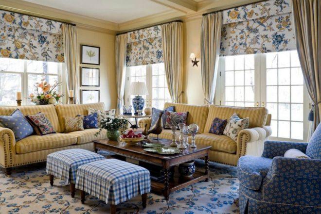 Текстильное оформление гостиной в стиле кантри