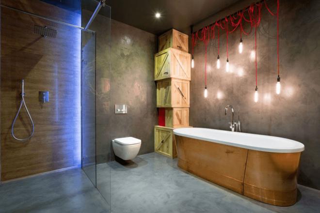 бетонный потолок в интерьере ванной комнаты
